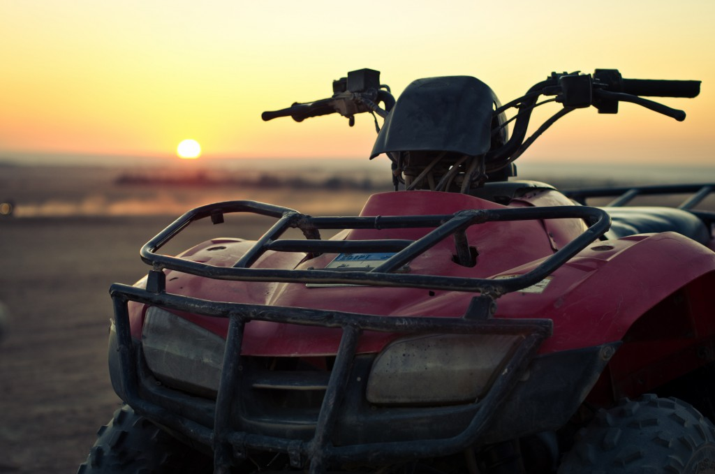 ATV with sunset background
