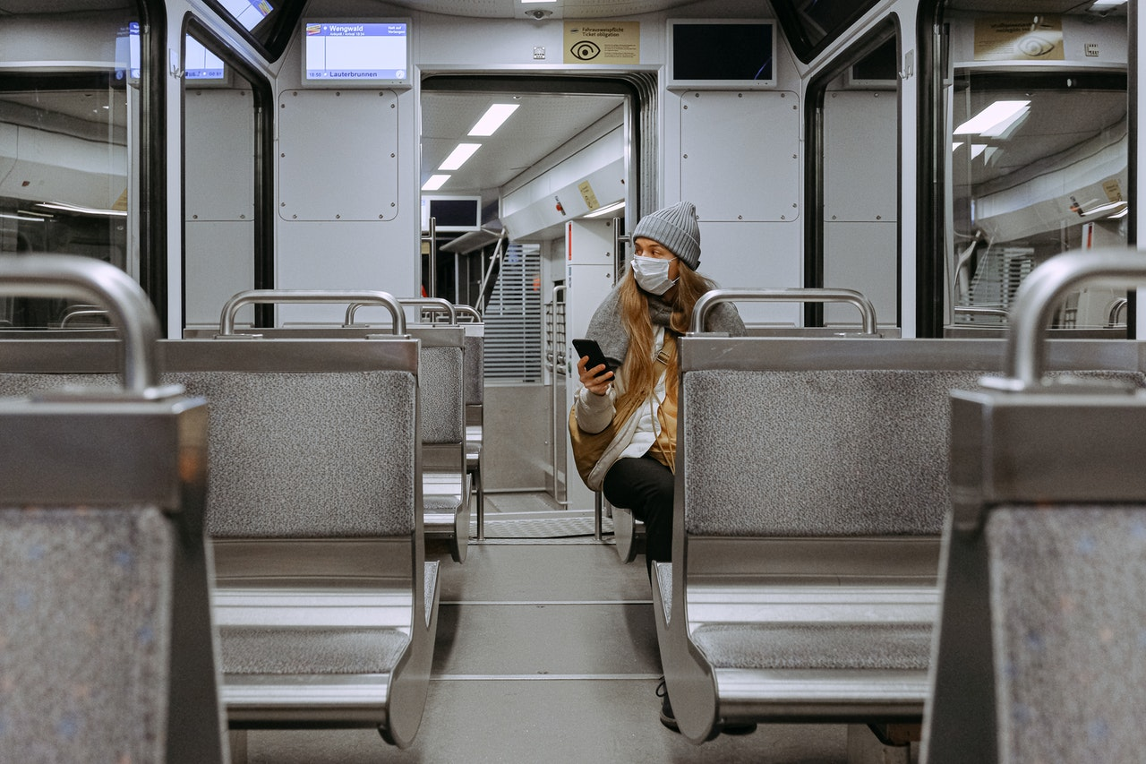 woman on the train alone